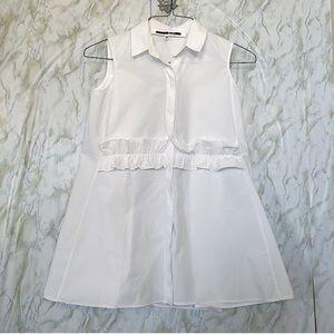 Alexander McQueen xlarge white ruffle tank blouse